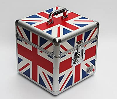 "Zilla Union Jack Flag UK 12"" 100 LP Single Vinyl Record Aluminium DJ Flight Carry Case Holds 100 Vinyls Tough Strong"