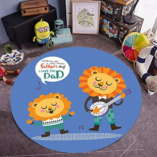 Kinderteppiche Teppiche Kinderzimmer Teppich Junge Mädchen Schlafzimmer Küche Wohnzimmerteppich D-140Cm Abbildung 14 Runde Cartoon Süße Kleine Frische