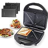 Aigostar Robin 30OGQ - Sandwichera 3 en 1: grill, gofres y sandwichera. 750W, placas antiadherentes extraíbles,...