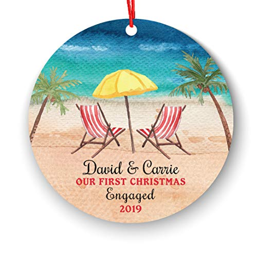 Engagement Personalized Christmas Ornament Beach Chair Summer Palm Sand Our First Engaged Couple Newly Engaged Couple 1st Xmas Future Husband Wife Lover Romantic Love Year Watercolor
