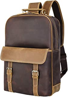 Mens Leather Bag Men's Backpack Vintage Premium Top Crazy Horse Leather Backpack Casual Portable Large Capacity Student Large Capacity Package Bag (Color : Brown, Size : 15.6 inches)