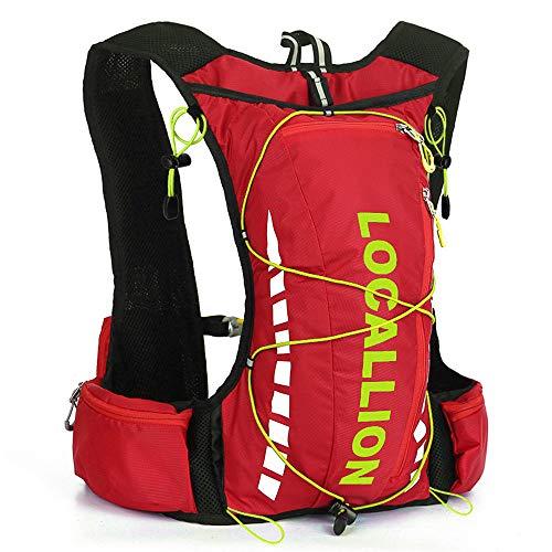FREEMY Fahrrad-Rucksack, 8 l Fassungsvermögen, für Damen und Herren, für Cross-Country, Laufen, Marathon, Ski, Camping, Red Green - Old Style