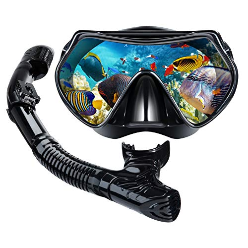 Villsure Dry Snorkel Set,Anti Leak Snorkel Mask Snorkeling Gear with Panoramic Wide View and Anti-Fog Tempered Glass,Easy Breathing and Professional Scuba Diving Mask for Adult,Women and Men
