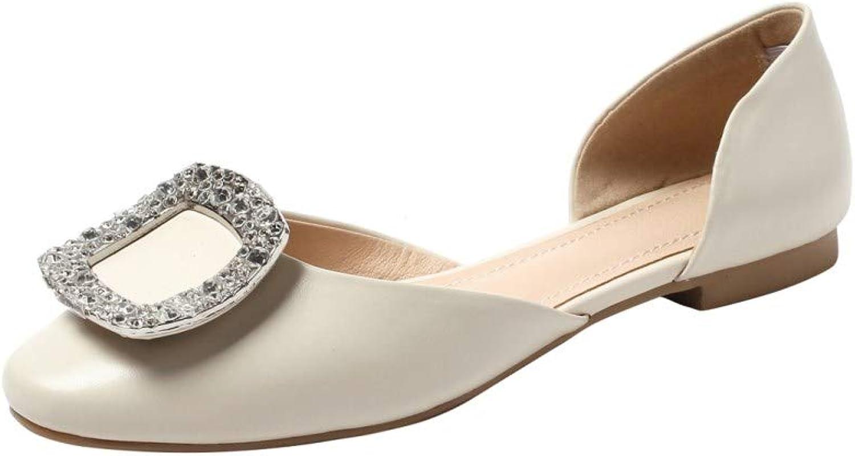 Nine Seven Women's Genuine Leather Closed Round Toe Flat Heel Handmade Comfortable Walking Pump shoes