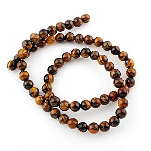 Perlin 45 unidades de piedras preciosas de ojo de tigre, 4 mm, grado A, piedras naturales redondas con agujero para enhebrar, G64