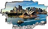 Sydney Stadt Skyline Australien 3D Look Wandtattoo 70 x 115 cm Wanddurchbruch Wandbild Sticker Aufkleber C002