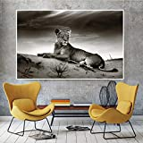 hetingyue Nordic Black Tiger Elephant Lion Animal Painting on Canvas Wall for...