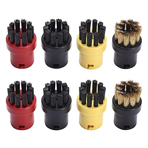 CJBIN Dampfreinigungsbürste, Kleine Rundbürstendüse Kärcher Rundbürstenset for Kärcher Steam Cleaner SC1 SC2 SC3 SC4 SC5 SC6 SC7, (2 Schwarz + 2 Gelb+ 2 rot+2 Stahlbürste)