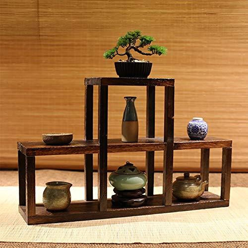 YINUO Multi-Baoge Bo en bois massif, support ancien, présentoir Multi-Baoge, support de fleurs, multi-viande, support de théière, boîte de rangement, brun, taille: 57x14x36cm