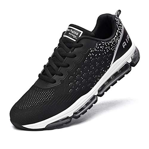 NewNaisu Unisex Laufschuhe Herren Damen Sportschuhe Air Turnschuhe Atmungsaktiv Running Schuhe mit Luftpolster Schwarz Weiß 39