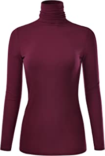 EIMIN Women's Long Sleeve Turtleneck Lightweight Pullover Slim Shirt Top (S-3XL)