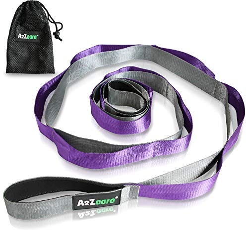A2ZCARE Yoga Stretch Strap with Multi-Loop 76 inches Long - Exercise Stretching Strap for Yoga Practice, Pilates Exercise, Dance, Fitness and Physical Therapy Rehab (Purple (Premium Version))