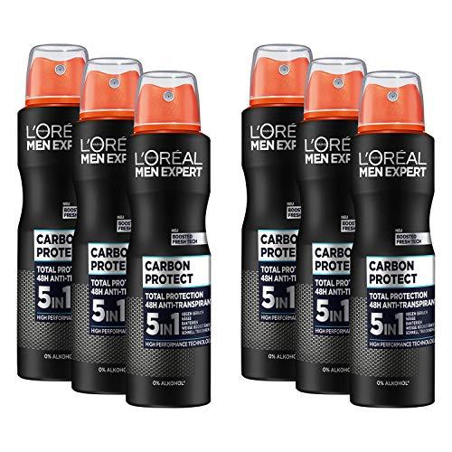 L'Oréal Men Expert Deo für Männer, 5-in-1 Deospray gegen Geruchsbildung, Nässe, Bakterien und weiße Rückstände für bis zu 48 Stunden Frische, Carbon Protect, 6 x 150 ml