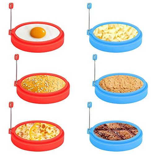 Laelr Ei Ring, 6 Pack Spiegeleiform für Bratpfanne Ei Ringe Silikon Pfannkuchenform Rund Omelett Form Für Eier Kochen
