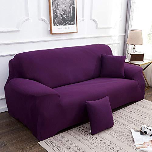 Fundas Decorativas para Sofás 1 Seater Color sólido púrpura Ajustables Antideslizante Protector Sofa de Muebles Funda de Sofá Elástica 1 Funda de Cojín (90-140cm)