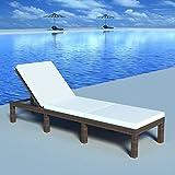 Donen - Muebles de jardín, asientos de exterior, baños de sol, regulable con cojín marrón de resina trenzada. Color del cojín: blanco crema. Tumbona larga