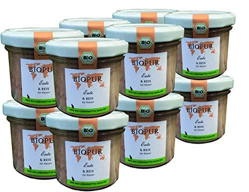 BIOPUR Bio Katzenfutter 12x100g [Ente & Reis] - Premium Nassfutter - 100% Bio Qualität - Katzennassfutter » ausgewogene Zusammensetzung « Futter aus hochwertigen Zutaten für Katzen