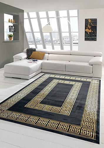 Teppich modern mit klassischer Bordüre in schwarz Gold Größe 80x150 cm