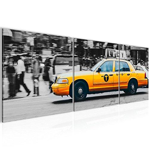 Bild 120 x 40 cm - Taxi New York Bilder- Vlies Leinwand - Deko für Wohnzimmer -Wandbild - XXL 3 Teile Teile - leichtes Aufhängen- 804833a