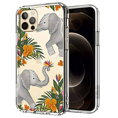 MOSNOVO Flower Elephant Pattern Clear Design Transparent Plastic Hard Back Case with TPU Bumper Protective Case Cover for iPhone 12 Pro/iPhone 12
