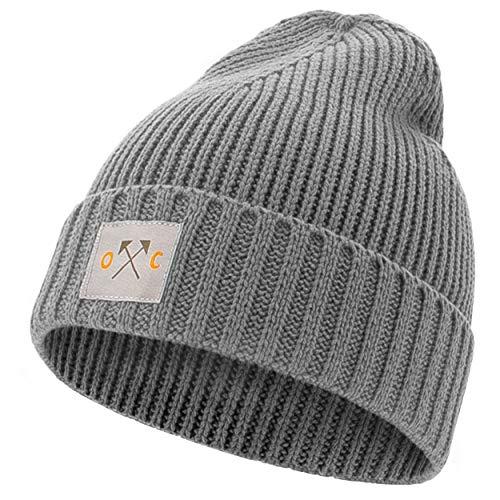 Occulto Mütze für Herren & Damen mit Cotton Patch| Winter Beanie Wintermütze für Männer, Damen, Jungen & Mädchen (Charcoal)