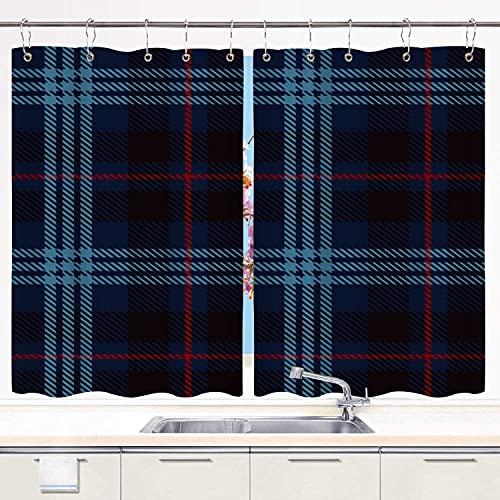 MIFSOIAVV Cortinas para Cocina Marque el tartán Rojo, Negro y Azul, Cuadros de Franela con Patrones de Azulejos para escocés Cortinas de Ventana Ganchos de Metal Juego de 2 Paneles