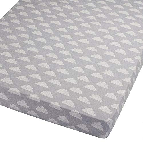 For Your Little One Jersey Fitted Sheet Compatible with Tutti Bambini Cozee Bedside Crib 55x90cm - 2X Clouds