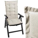 Wohaga Sitzkissen Auflage für Gartenstühle Stuhlauflage Sitzpolster Polsterauflage Gartenstuhlauflage Sitzauflage Sitzpolsterauflage Sitzkissenpolster für Hochlehner 112x45cm - 4cm dick/beige