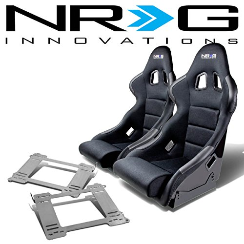 NRG FRP-311 Pair of Fiber Glass Bucket Racing Seat (Black)+Mounting Bracket Compatible with BMW E36 3-Series