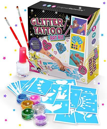 Original Stationery Glitter Tattoo Studio für Mädchen - Funkelnde und farbenfrohe temporäre Tattoos für Kinder - Magisches gefälschtes Tattoo-Kit Kunsthandwerk für Mädchen