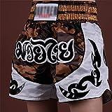 KDOAE Pantalones Cortos de Muay Thai Camuflaje Muay Shorts Thai Shorts MMA Luchando Traje Entrenamiento Fighting Sports Sports Hombres y Mujeres (Color : White, Size : M)