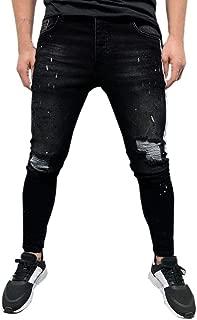 Pantalones Vaqueros con Cremallera de Agujero Roto para Hombres de Pantalones de Mezclilla elásticos Pitillo para Hombre Pantalón de Mezclilla deshilachados