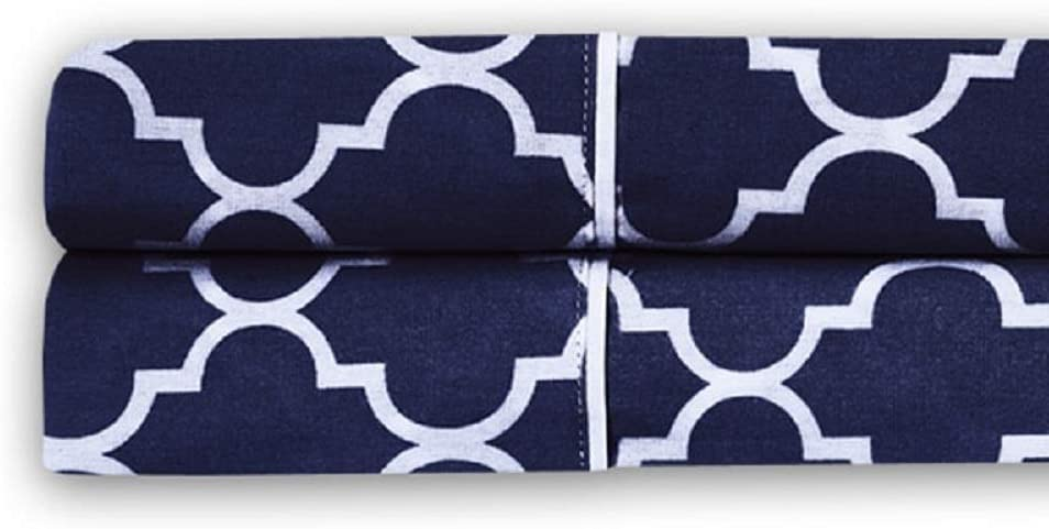 Printed Meridian White Percale 100/% Cotton Sheets