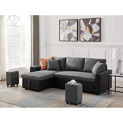 MAFOROB Linen Reversible Sleeper Sectional Sofa Bed...