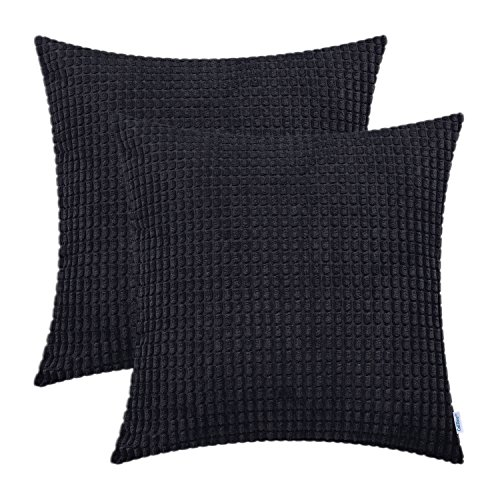 CaliTime Pack of 2 Cushion Cover Supersoft Corduroy Corn Striped Both Sides Throw Pillow Covers Cases 55cm x 55cm Black