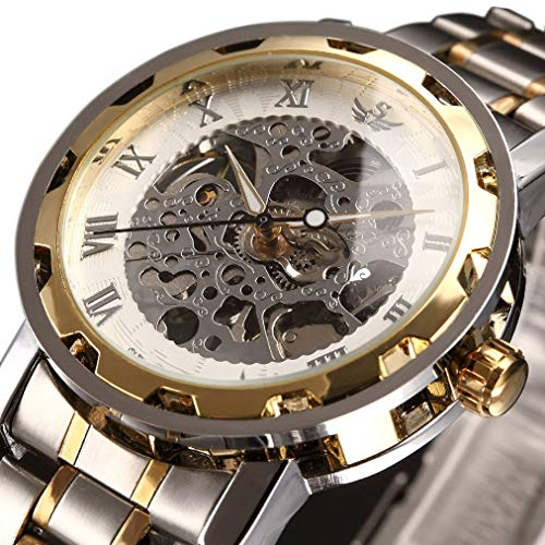 Watch,Mens Watch,Classic Skeleton Mechanical Stainless Steel Watch with Link Bracelet,Dress Automatic Wrist Hand-Wind Watch (whitegold)