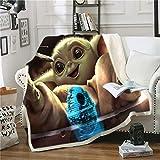 Ruiqieor Kuscheldecken 150x200 cm,Star Wars Decke, Decke Flanell Flauschige Decke, Kuschelige Wohndecke Sofadecke Reisedecke,3D-Digitaldruck Yoda Baby Kuscheldecke,Mikrofaser Decke(#08)