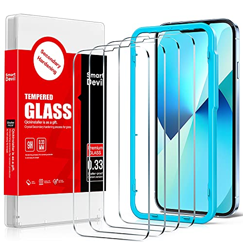 SmartDevil Panzerglas für iPhone 13/iPhone 13 Pro 6,1 Zoll, 4 Stück Schutzfolie, 9H Festigkeit Panzerfolie, HD Bildschirmschutzfolie,Kratzfest Folie