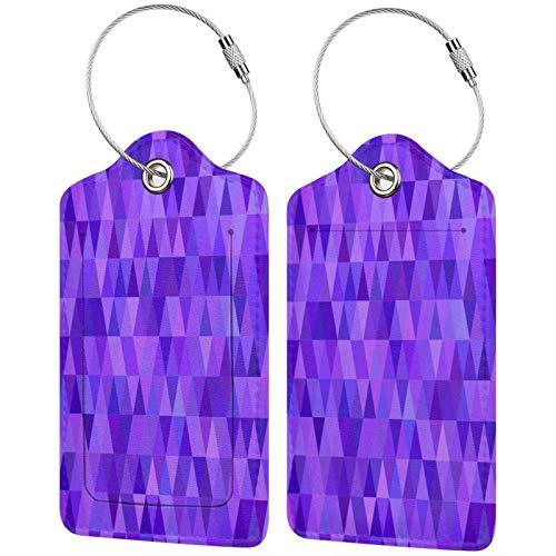 FULIYA Etiquetas para equipaje de viaje para tarjetas de visita, juego de 2, triángulos, morado, lila, mosaico