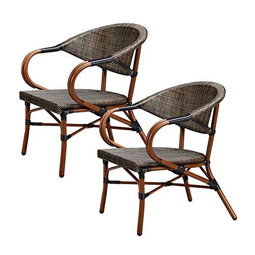 ALVEN - Sillas de jardín de ratán, sillón de 2 piezas con patas de metal y cojín para cocina de casa, silla de comedor, silla de jardín para exteriores, muebles para interiores marrones, B