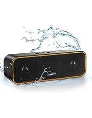 ZoeeTree 擴音器 藍牙 無線音箱 小型 IPX7防水 高音質 重低音 12W 藍牙 揚聲器 可連續播放36小時 支持TWS TF卡/AUX Type-C充電 戶外 浴室 免提通話 (橙色)