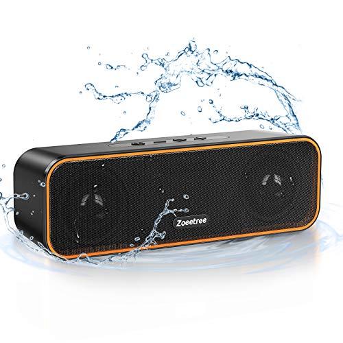 ZoeeTree Altavoz Bluetooth portatil inalambrico, IPX7 Impermeable para ducha exterior movil, Estereo Potente TWS, reproducción 36H, Altavoces Bluetooth pequeño 5.0 con Microfono y TF Tarjeta