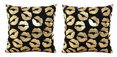 2 Fundas de Almohada cojín Cuadrado - 44 x 44 cm - cojín Decorativo - Lino - sofá - Cama - hogar - Dormitorio - Muebles - Besos - Beso - Labios - Boca - Estampado Dorado - Color Negro