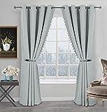 Always4u - Cortinas opacas térmicas de lino con flecos y pompones, para dormitorio, salón con ojales, aislamiento térmico, anticalor, tejido suave y no se arruga, 137 x 213 cm, lote de 2 unidades