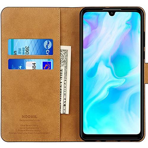 HOOMIL Handyhülle für Huawei P30 Lite Hülle, Premium Leder Flip Schutzhülle für Huawei P30 Lite Tasche, Schwarz - 2