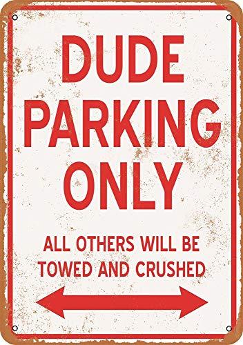 Tiukiu Panneau en métal Vintage Dude Parking Only