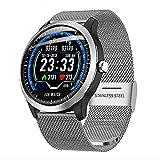 NONGLAN ECG PPG Reloj Inteligente Hombres Aptitud Pulsera Ritmo Cardíaco Presión Arterial Monitor A Prueba De Agua Smartwatch para Android iOS(Color:Plata)