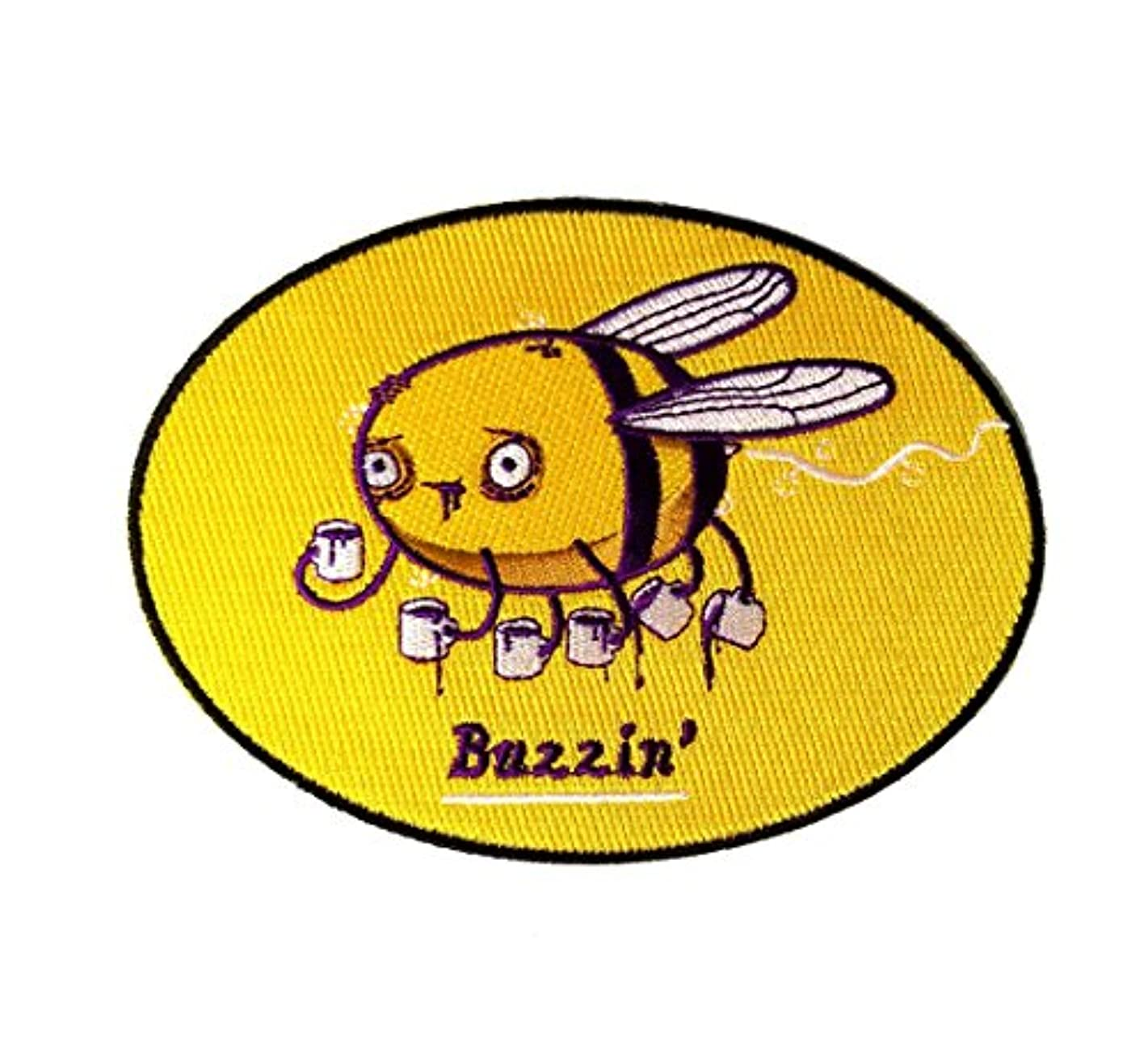 Buzzin Bumblebee Drinking Coffee Brew - Iron on Embroidered Patch Applique