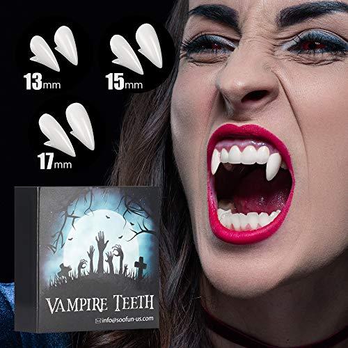 Vampir Zähne Halloween Party Geschenke - Vampirzähne Halloween DIY Cosplay Requisiten, Falsche Zähne für Halloween Party, Vampire Fangs mit Zahngel Wiederverwendbar Gefälschte Zahnersatz (Weiß)