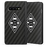 DeinDesign Klapphülle kompatibel mit Samsung Galaxy S10 Handyhülle aus Leder schwarz Flip Case Gladbach Borussia Mönchengladbach Carbon